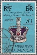 Nouvelles Hebrides 1977 Michel 442 O Cote (2005) 0.50 Euro Couronne De Reine Elisabeth II Cachet Rond - Légende Anglaise
