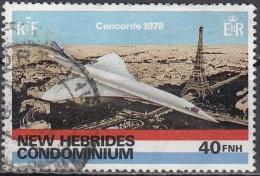 Nouvelles Hebrides 1978 Michel 508 O Cote (2005) 2.20 Euro Concorde Survolant Paris Cachet Rond - Légende Anglaise