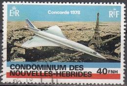 Nouvelles Hebrides 1978 Michel 512 O Cote (2005) 2.80 Euro Concorde Survolant Paris Cachet Rond - Légende Française