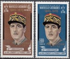 Nouvelles Hebrides 1971 Michel 303 - 304 Neuf ** Cote (2005) 2.00 Euro Président Charles De Gaulle - Légende Française