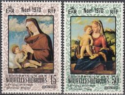 Nouvelles Hebrides 1970 Michel 299 - 300 Neuf ** Cote (2005) 2.40 Euro Noël La Vierge Et L'enfant - Légende Française