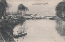 NOGENT SUR SEINE - LE PORT AU CHARBON ET LE PONT DE SENS - BELLE CARTE ANIMEE - ATTELAGE - PARTIE DE PECHE SUR LA SEINE - Nogent-sur-Seine