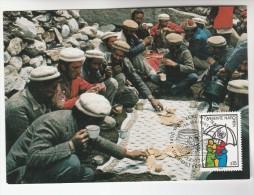 1985 UN VIENNA Maximum Card FDC UMBRELLA Stamps Postcard MEN PAKOL HATS,  United Nations Cover - Maximum Cards
