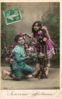 Postcard / CP / Postkaart / Boy / Garçon / Fille / Girl / Ed. Lotus / No 594 / 1909 - Grupo De Niños Y Familias