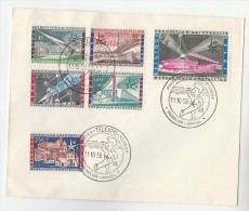 1958 BELGIUM TELEXPO EVENT COVER  Franked UNIVERSAL EXPOSITION Stamps SET  Atomium Minerals Crystal Telecom - Belgium
