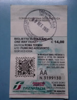 TRAIN TRENO TICKET TRENITALIA LEONARDO EXPRESS  ITALY  BIGLIETTO ROMA TERMINI FIUMICINO AIRPORT  USATO - Europa