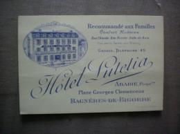 BAGNERES DE BIGORE HÔTEL  LUTETIA ABADIE PROPRIETAIRE PLACE GEORGES CLEMENCEA  CARTE - Sports & Tourisme