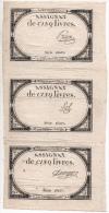 3 Assignats De 5 Livres Du 10 Brumaire An 2 Non Découpés Avec 3 Signatures - Assignats