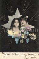 Postcard / CP / Postkaart / Girls / Filles / Ed. K. V. I. B. 12. / Serie 410 / 1905 - Grupo De Niños Y Familias