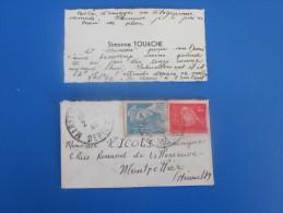 LETTRE DE SIMONE A VOLONTAIRE CHANTIER DE JEUNESSE 15 MALVALETTE AGAY WW2 GUERRE>EN CONGé à MONTPELLIER CORSICA - Marcophilie (Lettres)