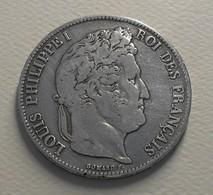 1837 - France - 5 FRANCS, LOUIS PHILIPPE 1er, (W), Lille, Tête Laurée, Argent, Silver, KM 749.13, Gad 678 - J. 5 Francs