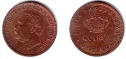 PORTUGUESE INDIA ( GOA ), Luiz I - 1/4 Tanga 1886 - KM#308 Y#8 XF- - India