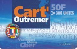 TARJETA DE REUNION DE 50 FRANCS CON BANDERAS DE PAÍSES (OUTREMER) ESPAÑA-ISRAEL-CANADA-USA-ETC.