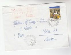 1986 FRANCE COVER Franked 2.20 CARNIVAL Stamps & METER LABEL  To Switzerland - France
