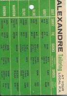 Calendrier De Poche /Alexandre Tailoring/Avec Tableau Des Coordination De Couleurs De Vêtements/USA ? GB?/1965    CAL307 - Unclassified