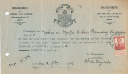 322/24 - BRASSERIE Belgique - Reçu Du Brasseur Dubois à AUDEGEM - Soeurs De Charité 1912 à GENT - Verso Refusé - Biere