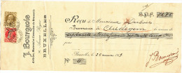 323/24 - BRASSERIE Belgique - Reçu 1909 Du Brasseur Dubois à AUDEGEM - J. Bourgeois , Articles De Brasserie à SCHAERBEEK - Bières