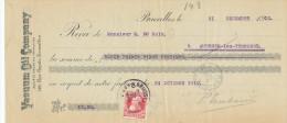 326/24 - PETROLE Belgique - Reçu 1910 Du Brasseur Dubois à AUDEGEM - Vacuum Oil Company à Bruxelles - Minéraux