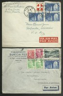 Lot 2 Lettres Avion Pour Les U.S.A. ...au Tarif / Année 1950 & 1951 / Affr. St Wandrille - Marianne De Gandon - Blason - 1921-1960: Modern Period