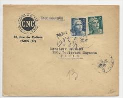 SEINE - 1945 - GANDON Sur ENVELOPPE Avec RECOMMANDE PROVISOIRE De PARIS - Postmark Collection (Covers)