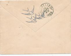 328/24 - OISEAUX Belgique - Lettre TP 46 ANVERS 1889 - TB Illustration De 3 Hirondelles Au Verso - Swallows