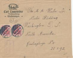 331/24 - ALLEMAGNE - Lettre Illustrée COCHON - Carl Linneweber à HERFORD 1909 Vers USA - Farm