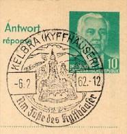 KYFFHÄUSER KELBRA 1962 Auf DDR P70IIA Antwort-Postkarte ZUDRUC BÖTTNER #1 - Ferien & Tourismus