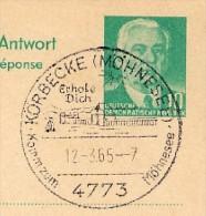 MÖHNETALSPERRE KÖRBECKE 1965 Auf DDR P70IIA Antw.-Postkarte ZUDRUCK BÖTTNER #1 - Ferien & Tourismus