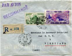 VIETNAM LETTRE RECOMMANDEE PAR AVION DEPART SAIGON R.P 13-9-1955 VIET-NAM POUR LE LAOS - Vietnam