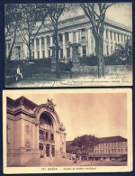 2 CPA ANCIENNES-INDOCHINE- SAÏGON- PALAIS DU LIEUTENANT-GOUVERNEUR EN 1900 + THEATRE MUNICIPAL- ANIMATIONS - Vietnam