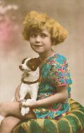 ENFANTS - LITTLE GIRL - MAEDCHEN - DOG - Jolie Carte Fantaisie Portrait Fillette Et Chien - Chiens