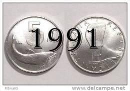 """!!! LIRE 5 1991 FDC """" DELFINO """" ITALIA !!! - 1946-… : República"""