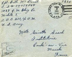 US ARMY POSTAL SERVICE - GUERRE 1939/45 - LETTRE EN FRANCHISE CENSUREE Du 7.12.1944 Pour CONDE-SUR-VIRE (Manche) - Lettres & Documents