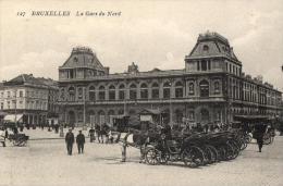 BELGIQUE - BRUXELLES - La Gare Du Nord. N°127. (calèches) - Chemins De Fer, Gares