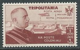 1934 TRIPOLITANIA POSTA AEREA VOLO ROMA MOGADISCIO 1 LIRA MH * - K116-8 - Tripolitania