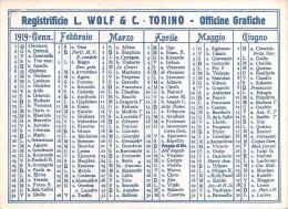 """04051 """"REGISTRIFICIO L. WOLF & C. -TORINO - OFFICINE GRAFICHE"""" CALENDARIETTO 1919 - Calendars"""