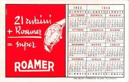 """04054 """"ROAMER - OROLOGIO SVIZZERO - CALENDARIO 1953-1954 CAMPIONATO CALCIO SERIE B - DIVISIONE NAZIONALE - F.I.G.C."""" - Calendari"""