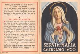 """04056 """"SEGRETARIATO GENERALE MISSIONI DEL SERVI DI MARIA - ROMA - MADONNINA DELLE LACRIME"""" CALENDARIO 1955 - Calendari"""