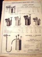 PUBLICITE- Lampes à Braser - ( Publicité ( Recto-verso Issue Du Catalogue-1931 Ets BERNABE-Alger). - Advertising