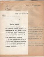 VP3632 - Lettres De Mr Le Général BOURGEOIS Sénateur & Du Ministère Des Finances à PARIS Au Sujet De Mr SCHLOESING - Documentos