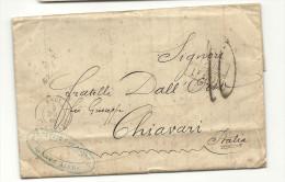 Argentine - Buenos Aires Pour Chiavari (Italie). Cachet D'entrée Par CALAIS - 1849-1876: Classic Period