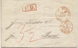 Allemagne - Barmen Pour Paris. 1867. Cachet D'entrée PRUSSE FORBACH - [1] Prephilately