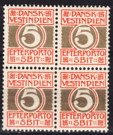 Denmark Danish Antilles (West India) 1905 Porto Mi#5 Yvert#5 Mint Never Hinged Block Of Four - Dinamarca (Antillas)