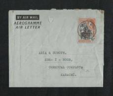 Gold Coast Ghana 1957 Independence Overprint Air Mail Postal Used Aerogramme Cover Ghana To Pakistan - Ghana (1957-...)