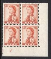 FIJI - 1959-1963 TWO PENCE HALF PENNY DEFINITIVE WMK MULT SCRIPT CA CONTROL MARGIN BLOCK OF 4 FINE MNH ** SG 302 X 4 - Fiji (...-1970)