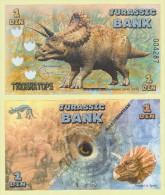 JURASSIC  BANK   1  DIN  TRICERATOPS   2.015  SC/UNC/PLANCHA   T-DL-11.270 - Specimen
