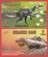 JURASSIC  BANK   7  DIN  SPINOSAURUS   2.015  SC/UNC/PLANCHA   T-DL-11.271 - Fictifs & Spécimens