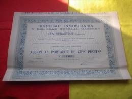Sociedad Inmobiliaria Y Del Gran Kursaal Maritimo (1911) San Sebastian , ESPAGNE - Hist. Wertpapiere - Nonvaleurs