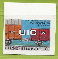 Belgique 1972 1626 **  Non Dentelé Union Internationale Des Chemins De Fer UIC Train Wagons - Treni