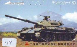 Télécarte JAPON * WAR TANK (174) MILITAIRY LEGER ARMEE PANZER Char De Guerre * KRIEG * JAPAN Phonecard Army - Army